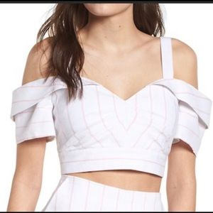 Leith off the shoulder crop top white and pink